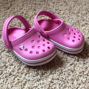 Party Pink Baby Crocs, size 4